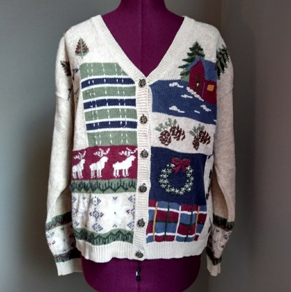 Nutcracker Sweaters Cream Button Up Christmas Sweater Poshmark